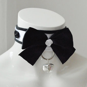 Kitten play bdsm collar - Rosenlied - black and white - kawaii cute neko lolita petplay choker with leash ring big bow and bell - BDSM proof