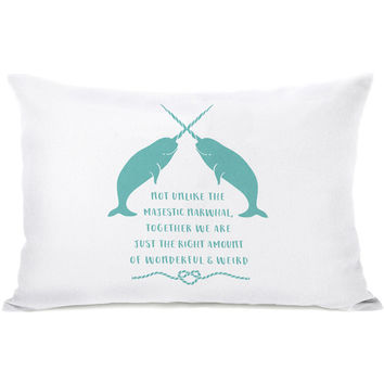 """Narwhal"" Indoor Throw Pillow by Cheryl Overton, 14""x20"""