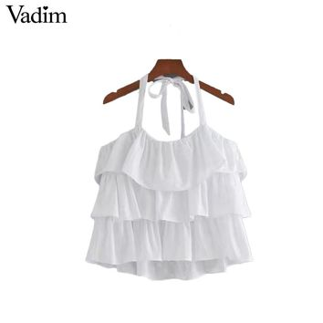 Women sweet tiered ruffles crop tops white cute tank tops adjustable strap sleeveless casual blouses