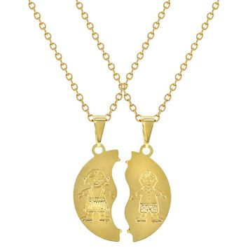 18k Gold Plated Couple Boyfriend and Girlfriend Necklace Pendant 19""