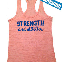 STReNgTh aNd STiLeTToS... Workout Tank Top... Light Pink Burnout Racerback Tank Top...SIZE SMALL