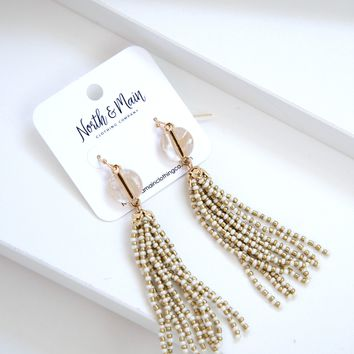 Lola Beaded Tassel Earrings, Cream