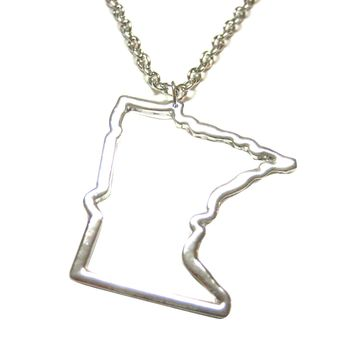 Silver Toned Minnesota State Map Outline Pendant Necklace