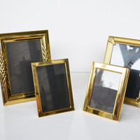 Vintage Brass Picture Frames Gold Picture Frames set of 4 Picture Frames 80s Mod Picture Frames Wedding Décor Frames for Table Numbers