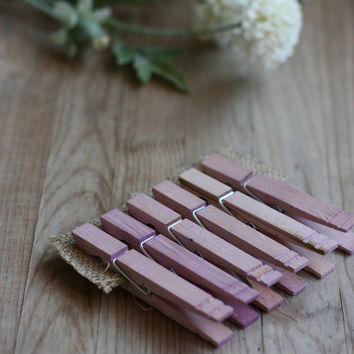 LaRgE hand stained wood clothespins, LiLaC, rustic wedding favor, vintage style wedding favor, baby shower favor