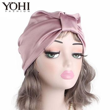 2018 women luxury Silky silk stretchy turban headwrap soft chemo cap hair loss Bandana Hijab Turbante Ladies Bonnet Cap