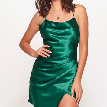 breaking hearts satin cowl neck front wrap mini dress in jade green