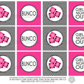 Printable Girls Night Out Bunco Cupcake Toppers, Sticker Labels & Party Favor Tags by SUNSHINETULIPDESIGN