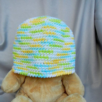 Cotton Crochet Cloche White Green Blue and Yellow by CroweShea