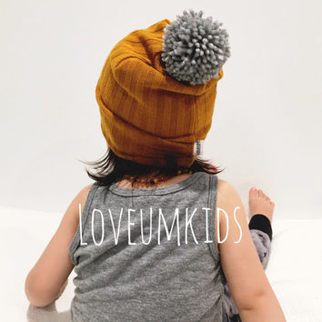 Baby Toddler Mustard Yellow Fully Lined Sweater Knit Pom Pom Slouchy Beanie Hat