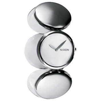Nixon A098100 Women's Spree Stainless Steel Circular Design Expansion Band White Dial Watch