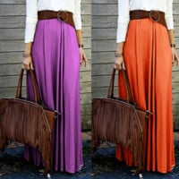 plain cotton Maxi skirt B0015350