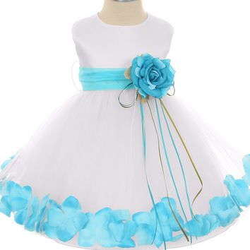 Aqua Flower Girls Satin & Tulle Petal Dress w. Organza Sash 3m-24m