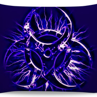Purple biohazard pillowcase, toxic fallout warning sign, bio-waste symbol throw pillow cushion