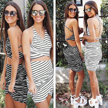 Halter Crop Tops And Bodycon Striped Skirt