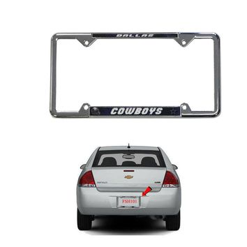 Licensed Official New NFL Dallas Cowboys Car Truck Chrome Metal Laser Cut License Plate Frame