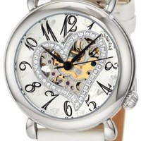 Stuhrling Original Women's 109SW.1215P2 Amour Aphrodite Delight Automatic Skeleton White Leather Watch