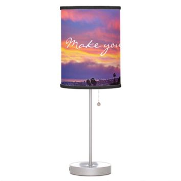 "Pink & blue sunrise ""magic"" quote photo table lamp"