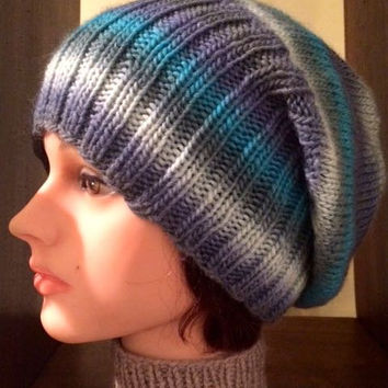 Djfleesh Big Head Short Stack Sack Hat - Free Shipping in the US - Slouch Hat - Hand Knit