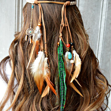 Feather headband, Dreamcatcher Feather headband
