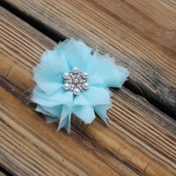 Shabby Chic, Flower, Headband, Hair bow, White, Turquoise, Any Color, Chiffon, layered, brooch, rhinestone
