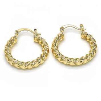 Gold Layered 02.261.0018.25 Small Hoop, Twist Design, Polished Finish, Golden Tone