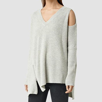 ALLSAINTS US: Womens Able Open Shoulder Sweater (Marble Grey)