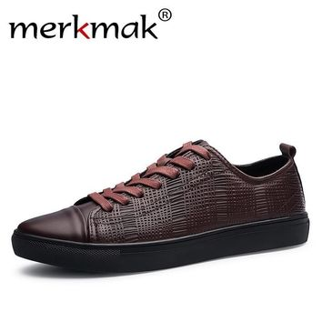 Merkmak 2017 New Fashion Men Genuine Leather Shoes Leisure Male Casual Leather Oxford