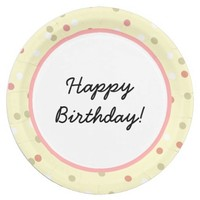 Confetti Cake • Yellow Buttercream Frosting 9 Inch Paper Plate