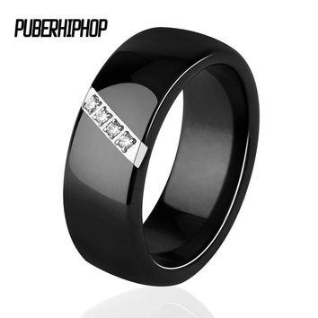 2018 New 6MM 8MM Black White Pink One Slash Crystal Ceramic Ring For Women Engagement Promise Wedding Band Mother Gifts Jewelry