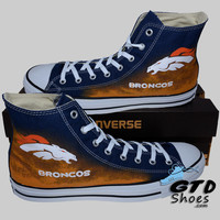 Hand Painted Converse Hi. Denver Broncos. Football. Superbowl. Handpainted shoes