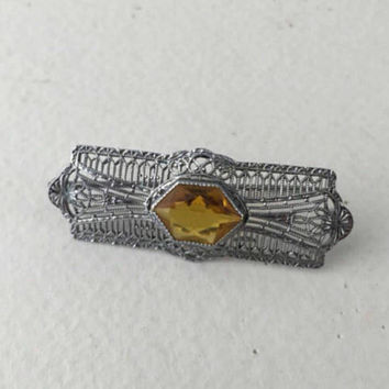 Citrine Rhodium Pin, Art Deco Brooch, Filigree, Vintage Jewelry