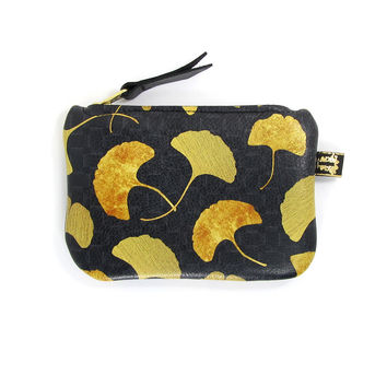 Leather Purse - Golden Ginkgo Leaf