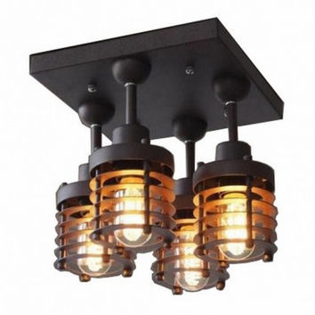 4 light edison vintage industrial corridor living room dinning room  ceiling lamp light