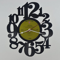 Vinyl Record Clock Wall Hanging  (artist is Van Morrison)