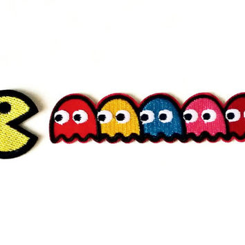 Set of 2 pcs Pac man patch Ghost patch Cartoon patch Embroidered patch sew on patch, Iron on patch Applique