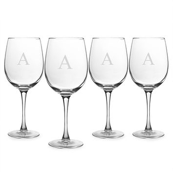 Personalized 19 oz. White Wine Glasses (Set of 4)