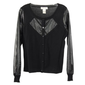 Zelda Black Perforated Faux Leather Long Sleeved Sleeve Cardigan Sweater Size M
