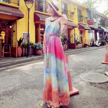 2016 New Style Gradient Colorful Summer Dress Sleeveless A Line Floor Length Long Chiffon Dress Beach Style Dresses