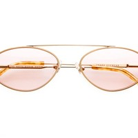 The Proto Riddim - Brushed Gold & Blonde Tortoise Tips - w/ Base 4 Pink Tint CR-39 Lenses - Sunglasses