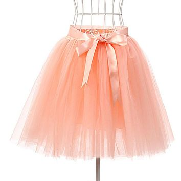 Skirts Womens 7 Layers 50 cm Midi Tulle Skirt American Apparel Tutu Skirts Women Ball Gown Party Petticoat faldas saia jupe