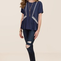 Emery Embroidered Loose Peplum Cupro Top