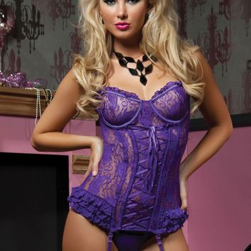 Seven 'Til Midnight Paisley Pleasure Bustier And Thong