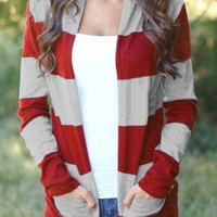Casual Style Collarless Long Sleeve Wide Stripe Cardigan