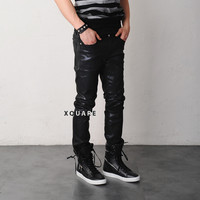 Hard Coated Slim Black Jeans