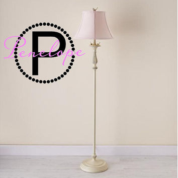 "Initial and Name Monogram Vinyl Wall Decal with Polka Dot Circle Border Frame 14"" Circle-Boys Girls Teen Nursery Dorm Room Monogram"
