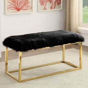 Ultra Comfy Contemporary Large Bench, Black  & Gold