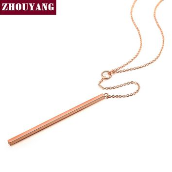 Anti Allergy Hot Sale Y Style Chain Long Necklaces & Pendants Rose Gold Color Fashion Jewelry For Women colares N601