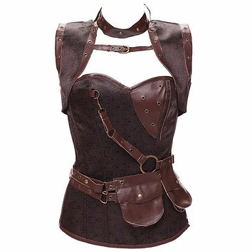 Women High quality plus size 5XL Brown Silver Faux Leather Gothic steampunk corsets and bustiers overbust Costume cosplay W58926