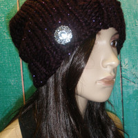 Slouchy Beanie Hat Winter Hand Knit Dark Purple Sparkly Oversized Woodsy With Sparkle Button